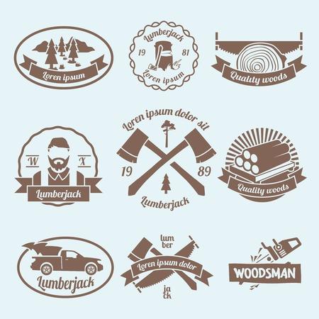 herramientas carpinteria: Etiquetas le�ador le�ador establecidos con herramientas de carpinter�a y materiales aislados ilustraci�n vectorial