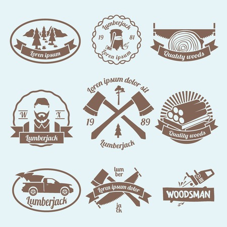 timber cutting: Lumberjack woodcutter labels set with carpentry tools and materials isolated vector illustration