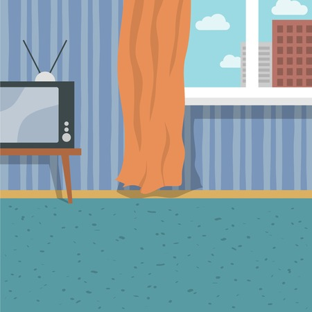 Indoor flat interior with retro tv carpet and window curtain background vector illustration Vector