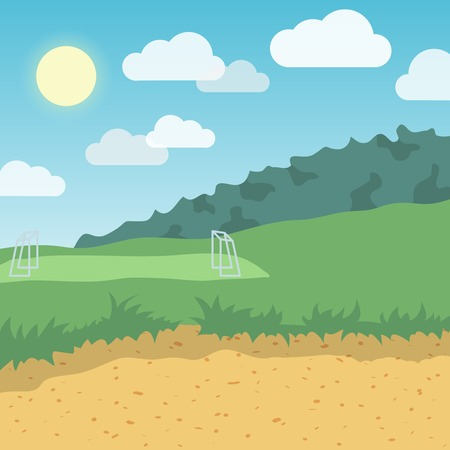 hill distant: Outdoor summer day location with distant football playground background vector illustration