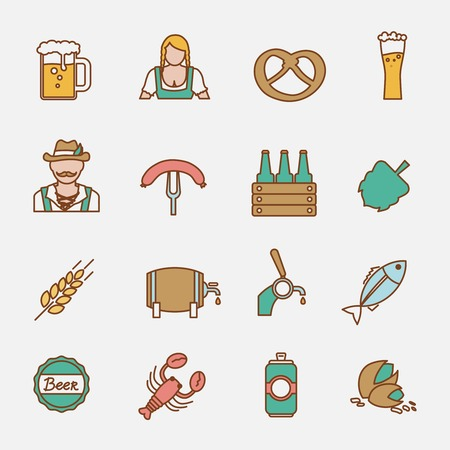 tin can phone: Beer Oktoberfest icons flat line set with wheat ear lobster fish isolated vector illustration