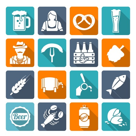 tin can phone: Beer cold alcohol beverage Oktoberfest festival icons flat set isolated vector illustration Illustration