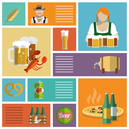Beer cold alcohol drink Oktoberfest festival decorative icons flat set isolated vector illustration Vector