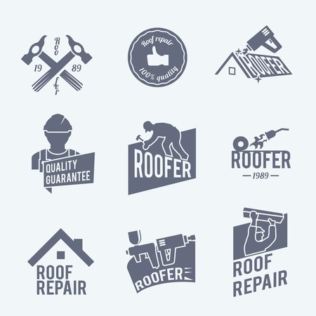 roof construction: Roofer construction worker tradesman house builder grey icons set isolated vector illustration Illustration