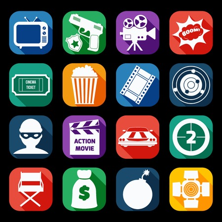 Action film movie cinematography production icons set of gun robber muscle car and bomb isolated vector illustration