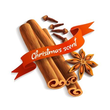 christmas scent: Especias deliciosos sabores aroma navidad ilustraci�n vectorial placa cinta