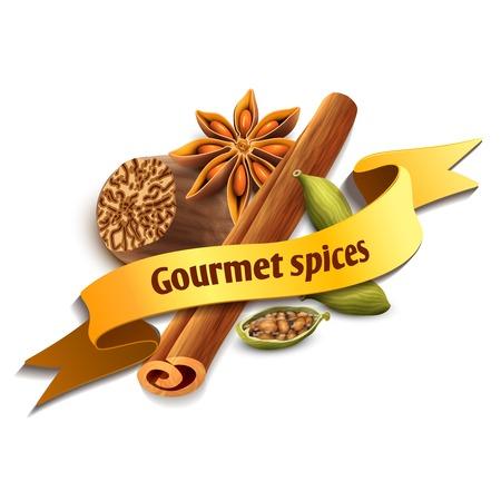 Gourmet spices delicious flavors ribbon badge with cinnamon nutmeg anise star cardamom vector illustration