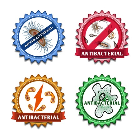 antibacterial: Antibacterial health care ribbon badges set isolated vector illustration Illustration