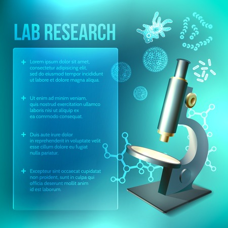 Antibacterial: Bacteria and virus lab research background with microscope vector illustration