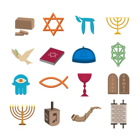 shofar: Judaism church traditional symbols icons set isolated vector illustration Illustration