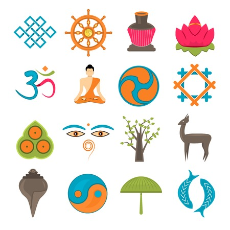 Buddhism church traditional symbols icons set isolated vector illustration Vector