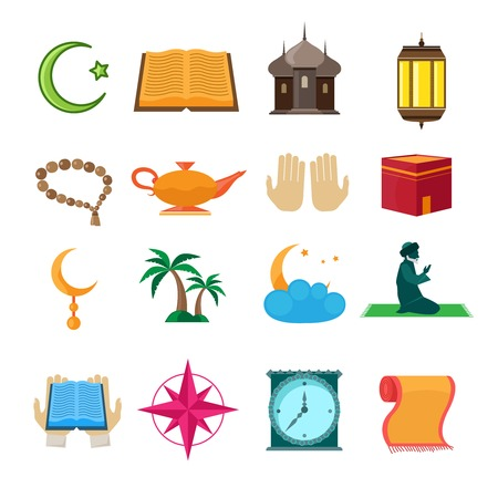 Islamic church traditional symbols icons set isolated vector illustration Vector