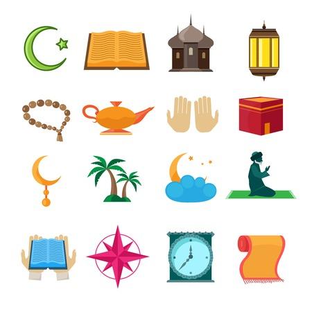 muslim pray: Islamic church traditional symbols icons set isolated vector illustration Illustration