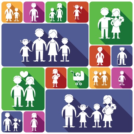 family isolated: Family figures decorative flat icons set of men women baby isolated vector illustration Illustration