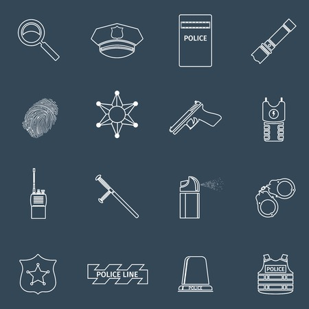Police protect and serve special forces outline icons set isolated vector illustration Vector