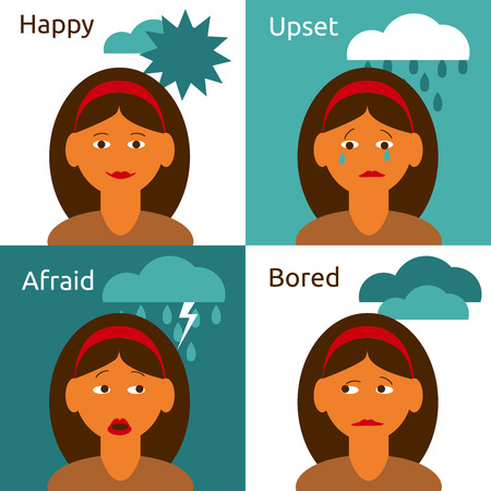 Cartoon woman character happy upset afraid bored emotions flat icons with weather symbolic abstract vector isolated illustration Illustration