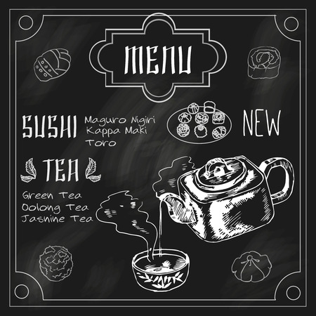 earthenware: Japanese traditional sushi restaurant blackboard advertisement with green powdered jasmine matcha tea in earthenware teapot vector illustration Illustration
