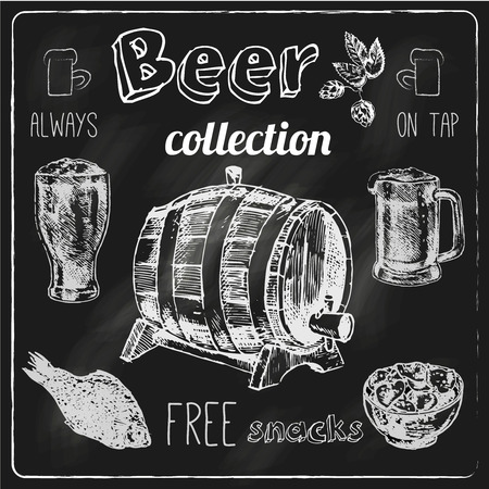 Always free salted snacks tap beer bar chalk blackboard advertisement icons collection sketch vector isolated illustration Vector