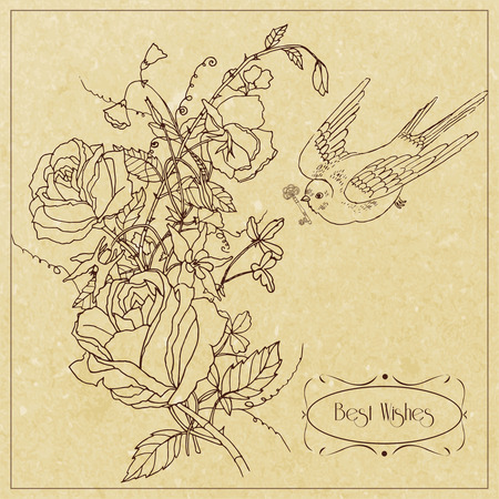sweet pea: Best wishes vintage greetings card design with rose sweet peas flowers and bird outline sketch vector illustration