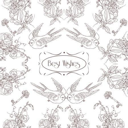 cottage garden: Vintage cottage garden flowers birds and keys composition best wishes greetings card pattern sketch outline vector illustration