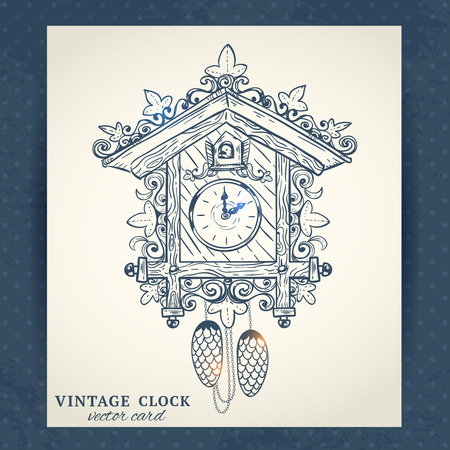 Old vintage retro sketch cuckoo clock paper postcard vector illustration Çizim