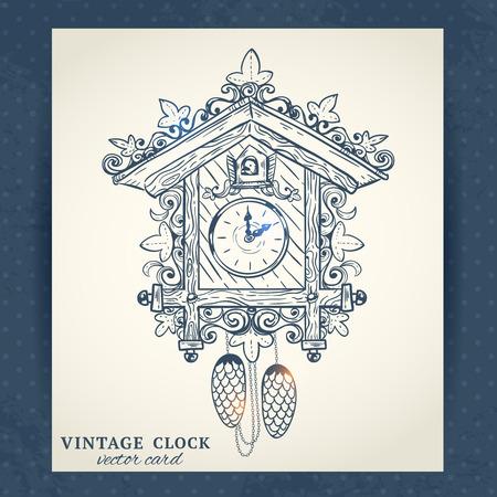 reloj cucu: Reloj de cuco dibujo ilustración papel postal retro vector viejo de la vendimia
