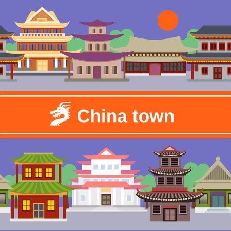 china town: China town with traditional buildings tileable border vector illustration Illustration