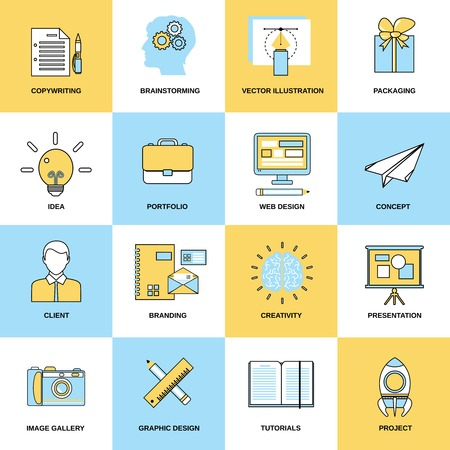 copywriting: Advertising flat line icons set with copywriting brainstorming packaging vector illustration