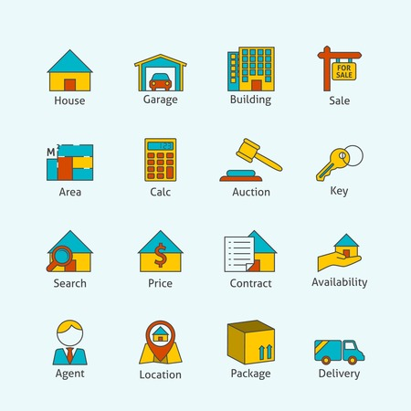 Real estate flat line icons set of house garage building isolated vector illustration Vector