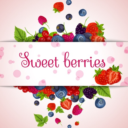 scrapbook background: Natural organic sweet fresh berries paper card vector illustration