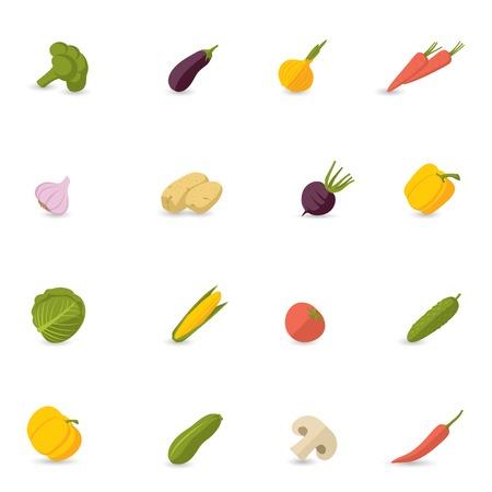 Food vegetables flat set of pepper pumpkin broccoli onion garlic isolated vector illustration Vector