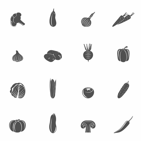 pumpkin tomato: Food vegetables black set of eggplant potato paprika isolated vector illustration