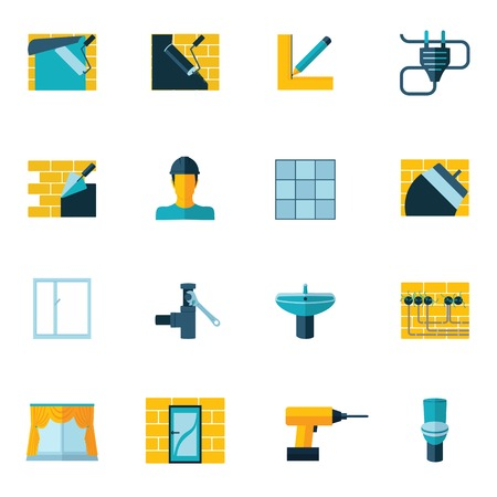 Home repair diy renovation housework icons set flat isolated vector illustration Vector