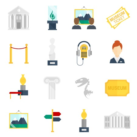 art museum: Museum art exhibition icons flat set isolated vector illustration