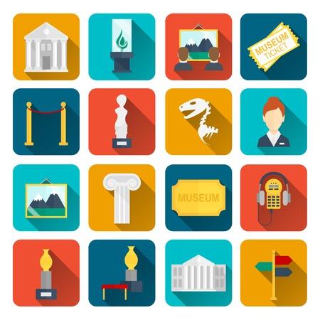Museum iconen platte set van geïsoleerde teken canvas barrière vector illustratie