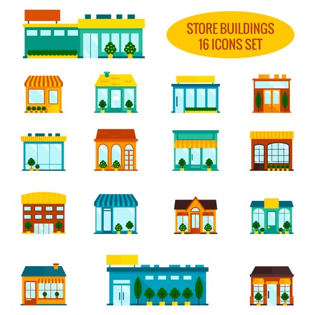 gebäude: Shop Shop Frontscheibe Gebäude Icon Set Flach isolierten Vektor-Illustration