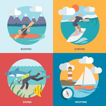 Water sports boating surfing diving yachting flat icons set isolated vector illustration