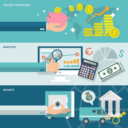 Bankdienst beste investering analytische beveiliging horizontale banners geplaatst geïsoleerd vector illustratie