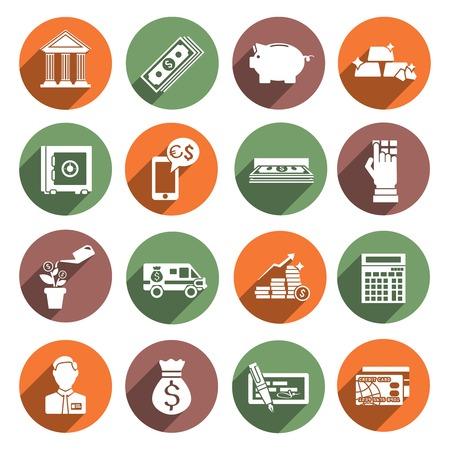 bank manager: Iconos planos de servicios del Banco establecen con la calculadora gerente segura ilustraci�n vectorial Vectores