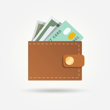 money in pocket: Wallet with money and credit card isolated on white background vector illustration.
