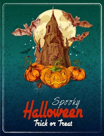 title hands: Halloween colored sketch background with castle pumpkins and bats vector illustration Illustration