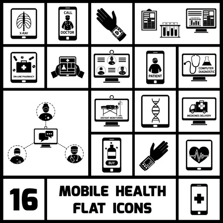 distant: Mobile health call doctor distant monitoring icons black set isolated vector illustration