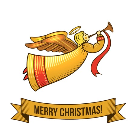 Christmas new year holiday decoration angel icon with ribbon vector illustration Illustration