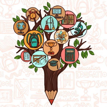 Tree pencil with education icons studying knowledge symbol vector illustration Vector