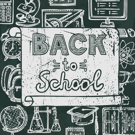 education background: Retro school and university education blackboard icons background back to school poster vector illustration