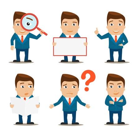 Bedrijf mannelijke kantoor professioneel tekens geplaatst geïsoleerd vector illustratie