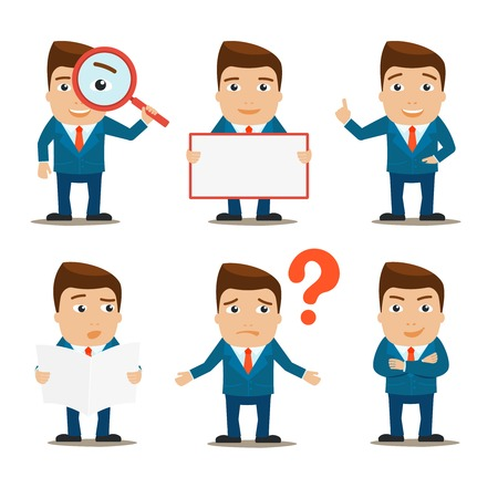 Business male office professional characters set isolated vector illustration