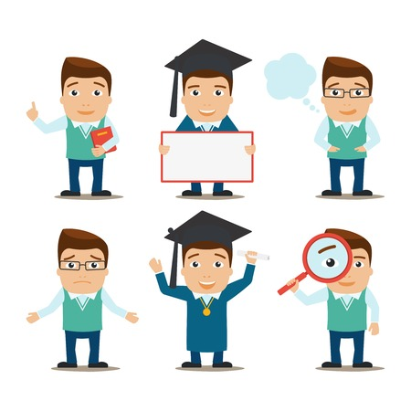 set of businessman: Education male characters research and graduation set isolated vector illustration