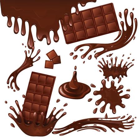 Sweets dessert food milk chocolate bars and splash drips background vector illustration