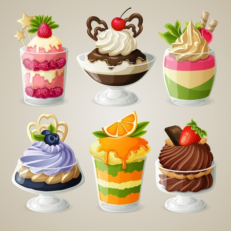 frozen dessert: Decorative sweets ice cream and mousse in glass desserts with chocolate fruits and mint isolated vector illustration
